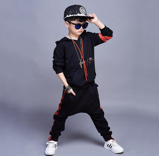 Children Clothes Set 2018 Autumn Boys Hip Hop Costume Outfit Causal Hoodies + Pants 2 Pcs Sets Kids Sports Suit