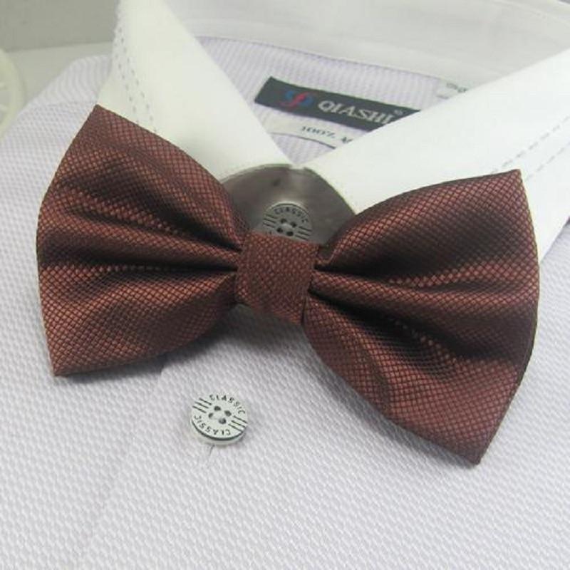 Men's Solid Color Bowtie Brown Bow Ties Necktie Butterfly Neckwear