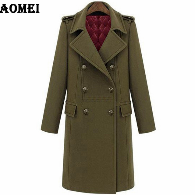 65fe5c8c960 2019 Winter Europe America Style High Quality Ladies Long Coat Quilted  Double-breasted Trench Woolen