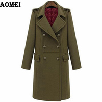 2019 Winter Europe America Style High Quality Ladies Long Coat Quilted Double breasted Trench Woolen Coats Navy Blue Army Green