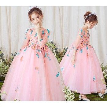 Girl party pink dress for wedding bridesmaid princess costume flower girl dress kids ball gown children tutu formalclothing I174