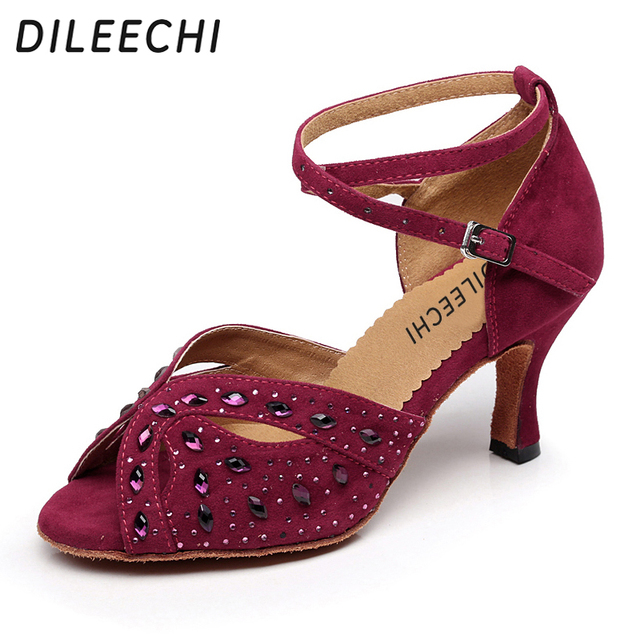 36f08ca3ee DILEECHI veludo Diamante sapatos de dança Latina adultos do sexo feminino  de alta-salto alto