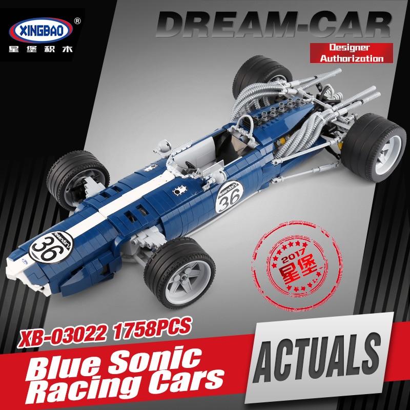 купить XINGBAO 03022 Genuine 1758PCS The Blue Racing Car Set Building Blocks Bricks Educational Funny Toys For Kids As New Year Gifts по цене 5371.8 рублей