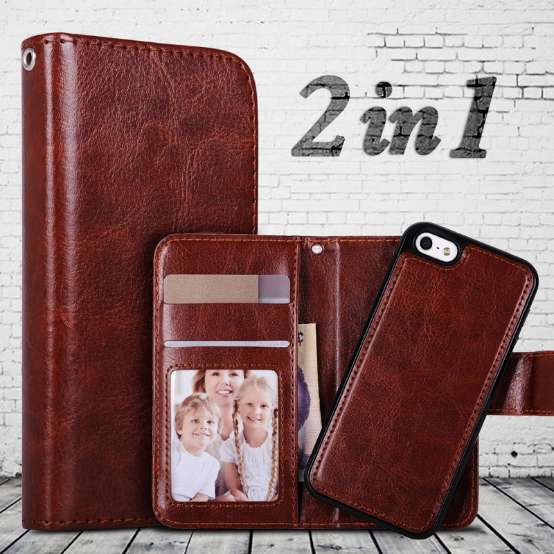 For-iPhone-5s-Case-2-in-1-Flip-Wallet-Card-Slots-PU-Leather-Cover-Case-For