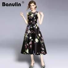 Banulin New 2018 Runway Dress Vintage Floral Print Jacquard Women Sleeveless Tank Pocket Evening Gowns Midi Party Dresses
