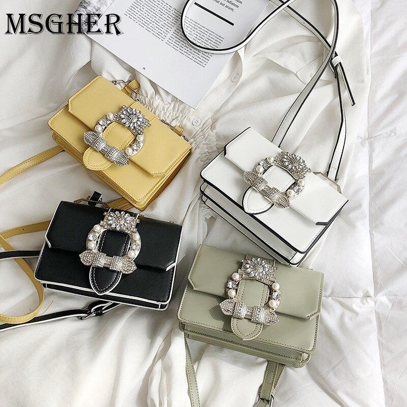 MSGHER Famous-Bags Diamond Elegant Designer Fashion PU Women for Lady