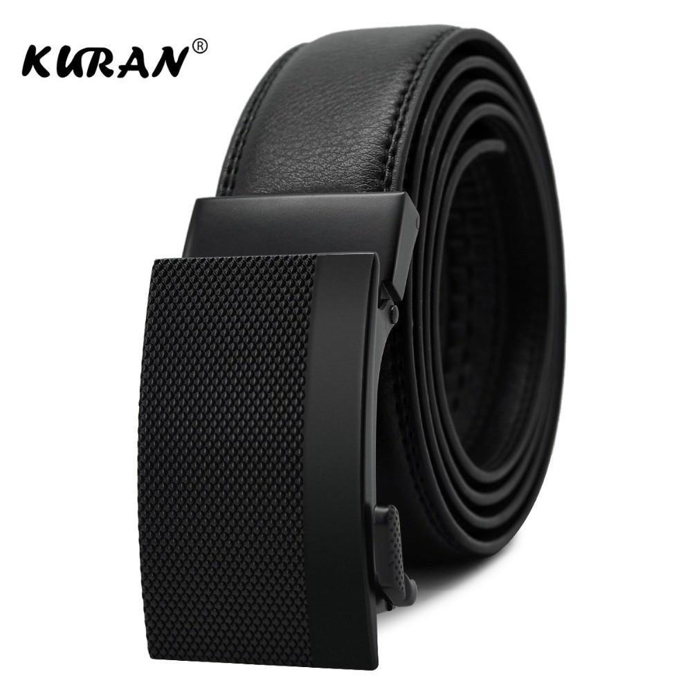 KURAN Fashion Designers Men Automatic Buckle Leather luxury   Belts   Business Male Alloy buckle   Belts   for Men Ceinture Homme