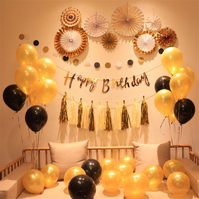 Creative Black Gold Balloon Happy Birthday Flag Adult Photo Background Boyfriend Party Decorations Baby Shower