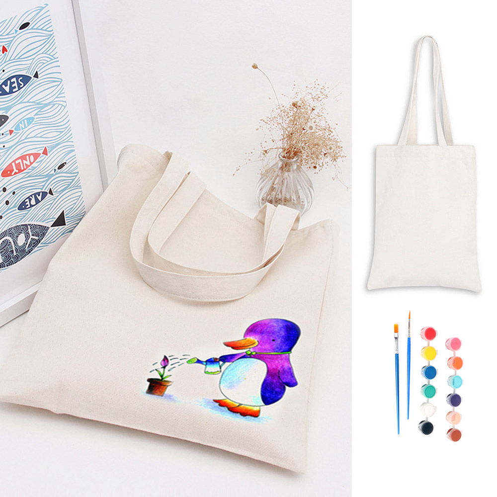 Funny Canvas Bag Shopping Handbag Fabric Paint Painting Brushes Children Kids Diy Drawing Draw Set Educational Art Toys Gifts