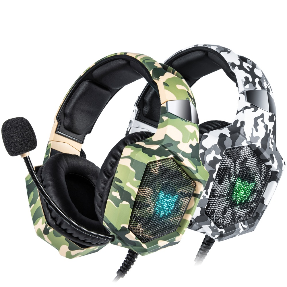 ONIKUMA K8 PS4 Headset Camouflage casque Wired PC Gamer Stereo <font><b>Gaming</b></font> Kopfhörer mit Mikrofon Led-leuchten für <font><b>XBox</b></font> One/ laptop image