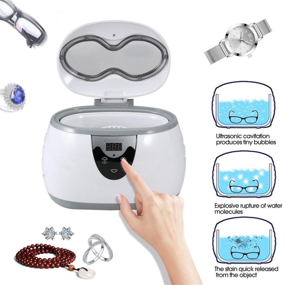 600ml Multi-functional Digital Timer LED Display Panel Ultrasonic Cleaner Jewelry Watches Dental Cleaning Solution multi function 35w ultrasonic cleaner grey 600ml