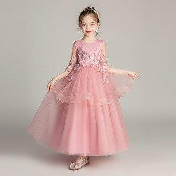 Summer New Girls Tulle Gown Flower Girl Dress For Weddings Sweet Flower Beading O-neck Half-sleeve Big Girls Long Ball Gown