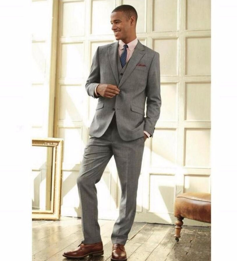 39.1 Custom Made Smoke Grey Men Slim Fits Suits Tuxedos Grooms Suits Wedding Suits Formal Party Suits Blazers+Pants+Vest