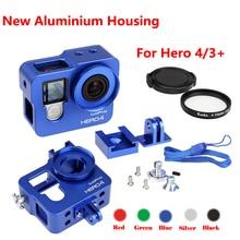 Go pro Hero 4 3 + accesorio para cámara, marco de carcasa de Metal de aluminio Carcasa protectora de aleación + filtro UV para Gopro 4 hero4,hero3 +