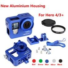 New Go pro Hero 4 3 + 카메라 액세서리, 알루미늄 금속 하우징 프레임 합금 보호 케이스 + Gopro 4 hero 4,hero 3 + 용 UV 필터