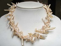 ~~ Free Shipping white pearl 35mm cross biwa pearl beads necklace