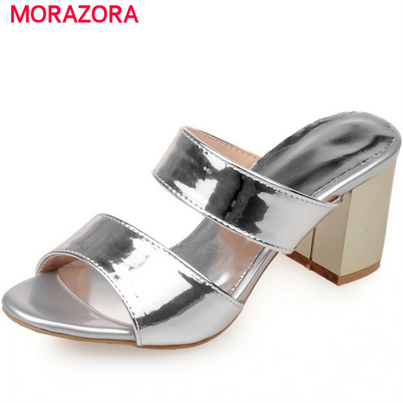 MORAZORA 2018 New arrive summer shoes woman sexy lady square heels shoes solid PU women sandals big size shoes 34-45 цена