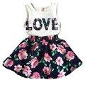 Bebé 2 Unids Outfit Set Kid Chica Chaleco Tops + Falda de Flores Vestido de la Ropa de Verano Traje