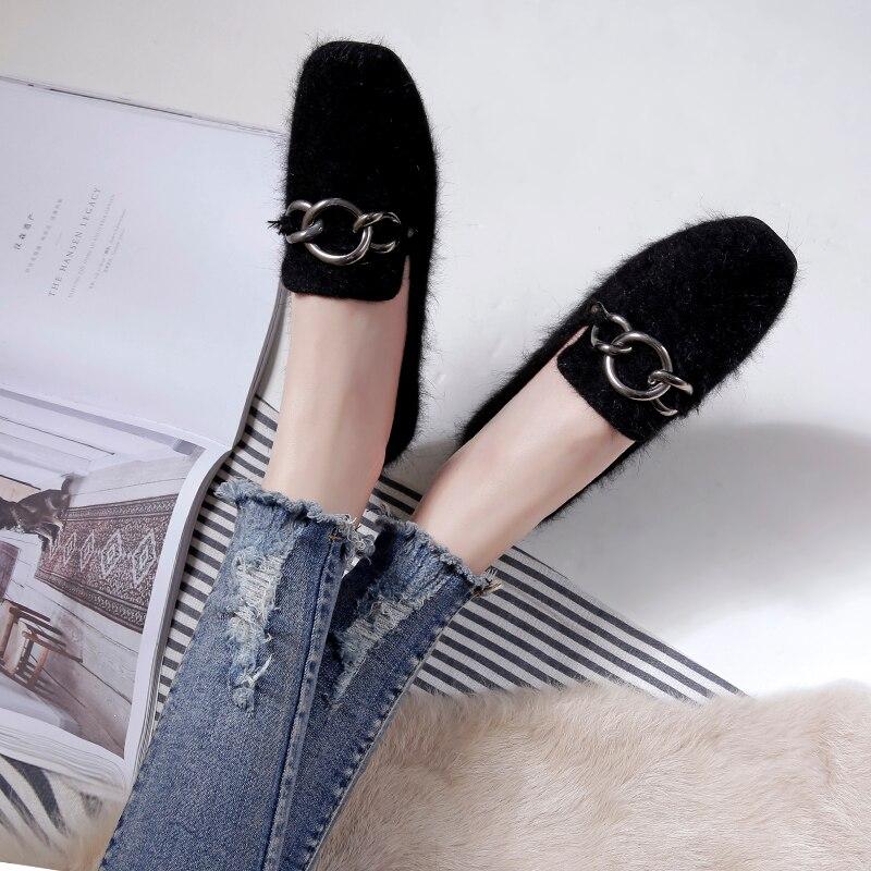 Vison 2018 De Appartements Occasionnels Fourrure Mode Chaussures Confortable gris Carré Automne Nouveau Szivan vin Noir Rouge Femmes Bout Hiver Haute Qualité qw6x06