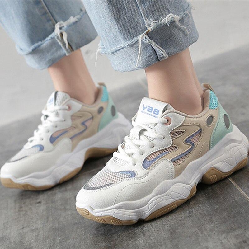 GYP 2019 zapatos de mujer otoño cómodo transpirable PU + malla zapatos de mujer Zapatillas de deporte de plataforma mujeres LL-29