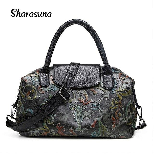 2018 New Phoenix Rose Printing Pattern Women Shoulder Bag Genuine Leather Fashion Luxury Handbags Bags