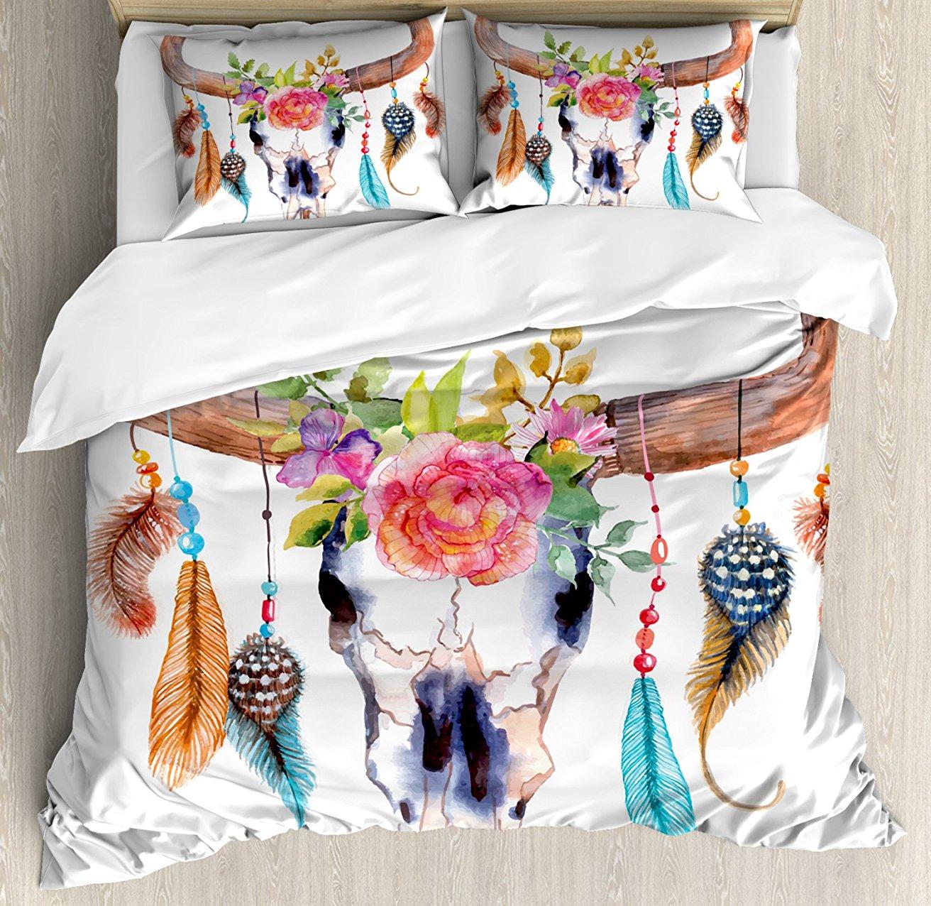 Акварель постельное белье, Bull Череп с висит цветок перья этническом стиле Индеец Дизайн, e 4 шт. Постельное белье