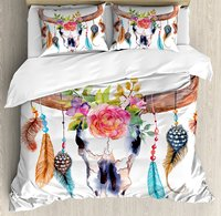 Watercolor Duvet Cover Set, Bull Skull with Hanging Flower Feathers Ethnic Inspired Native American Design,e 4 Piece Bedding Set