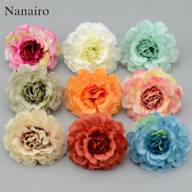 10pcs 6cm High Quality Silk Rose Artificial Flower Heads For Wedding