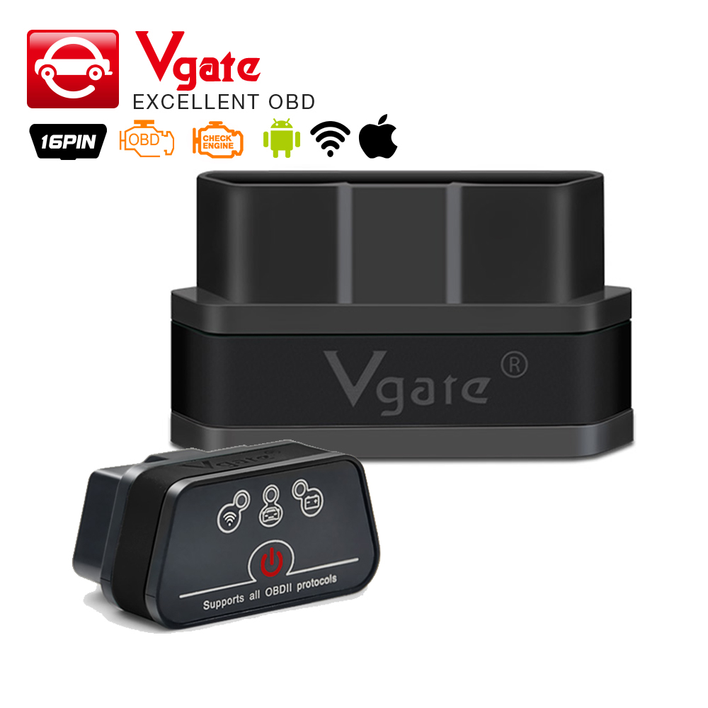 Prix pour D'origine vgate wifi icar 2 obdii elm327 icar2 wifi vgate obd interface de diagnostic pour ios iphone ipad android 8 couleurs