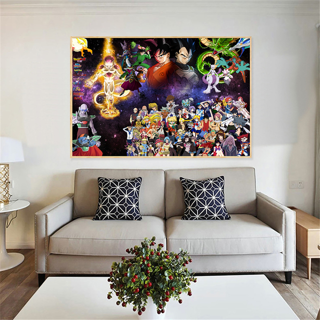 Canvas Big Wall Painting Dragon Ball Poster Goku Anime Boys Art Japanese Pictures Bedroom Christmas
