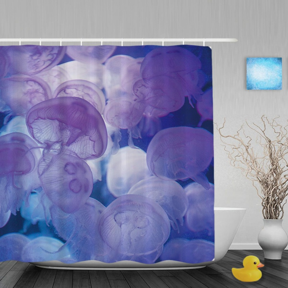 Sea Animals Decor Shower Curtains Jellyfish Floating In
