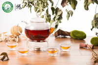 Lead free Clear Glass Gift Tea Set 1000ml Teapot Warmer Four Double Wall Teacups