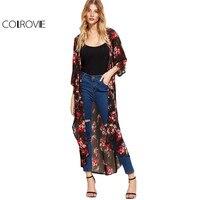 COLROVIE Bloemen Chiffon Kimono Vrouwen Zwart Longline Strand Blouse Casual Vintage Zomer Tops 2017 Fashion 3/4 Mouwen Losse Kimono