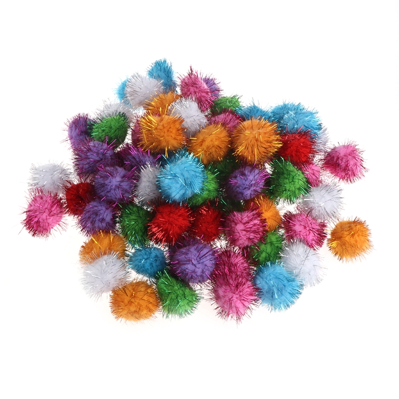 70pcs 3.5cm Glitzy Tinsel Sprayed Pompoms Balls Cat Toy