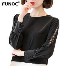 Funoc Spring Autumn Style Chiffon Blouse Shirt  Women Blusa Blouse Long Sleeve Ruffle Collar Ladies Office Shirts Tops Plus Size
