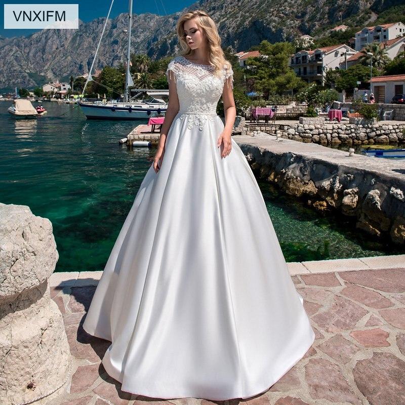 VNXIFM 2019 robe de mariée Boho o-cou Appliques dentelle Top une ligne Vintage princesse robe de mariée en mousseline de soie jupe plage robe de mariée