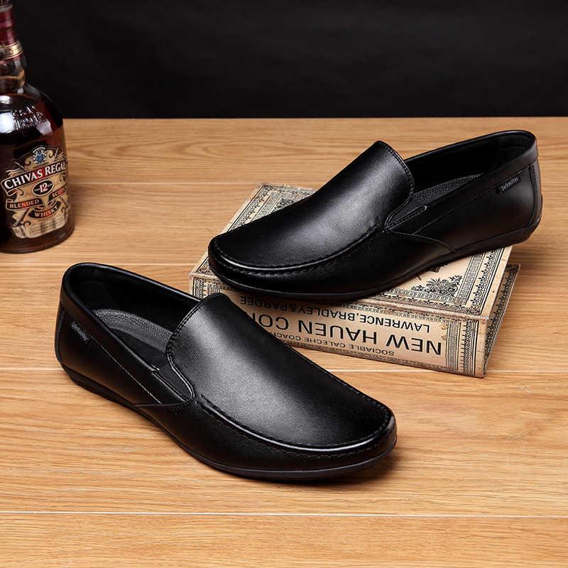 Jackmiller/Новое поступление; мужская повседневная обувь; мягкая удобная мужская обувь; Лоферы без шнуровки на плоской подошве; однотонная черная обувь