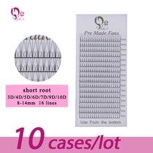J&S premade fans short root 3D/4D/5D/6D/7D/9D/10D false mink silk eyelashes extension 10 cases natural 16 lines volume fake lash