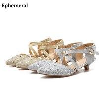 Lady's 4cm Buckle Sandalias Cinderella Pointy Toe Gold Silver High Heel Rhinestone Shoes Womens Pumps For Nigh Club Dating Party