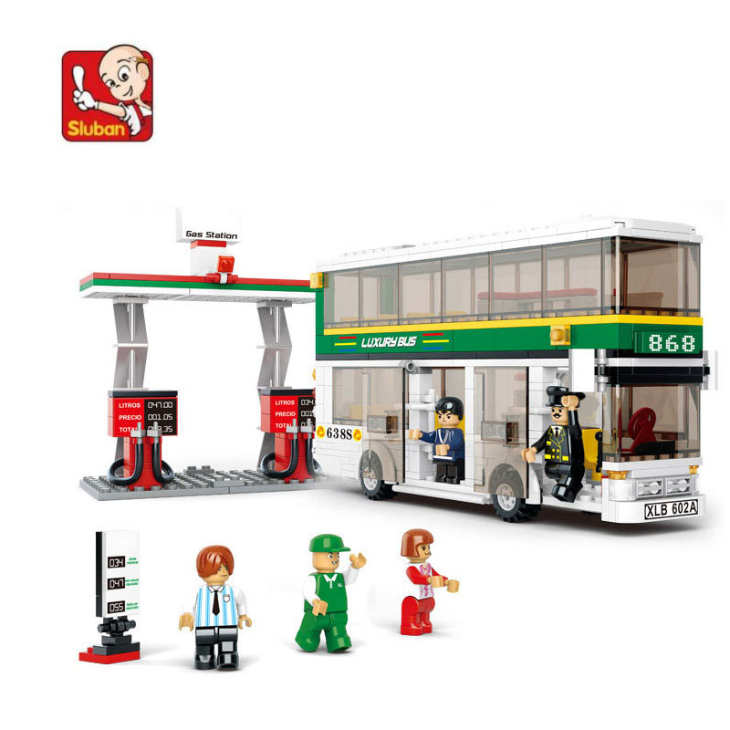 bus and gas station 403 pcs learn & education DIY Toys Compatible with Lego enlighten building blocks Bricks child's toy N0331 free shipping plate 2x4 diy enlighten block bricks compatible with lego assembles particles