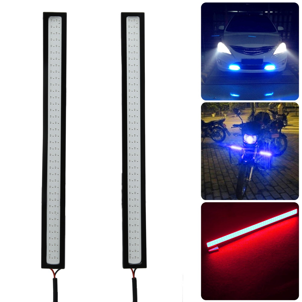 2Pcs Waterproof 12V LED COB Car Styling DRL Driving Daytime Running Lamp Strip Automobiles Fog Lamp Bar Blue/Ice Blue/Red suprer bright 2pcs 30cm 12v daytime running lights waterproof car drl cob driving fog lamp flexible led strip car styling