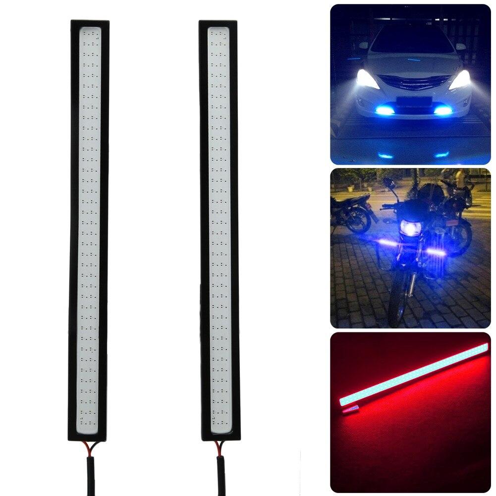 2Pcs Waterproof 12V LED COB Car Styling DRL Driving Daytime Running Lamp Strip Automobiles Fog Lamp Bar BlueIce BlueRed
