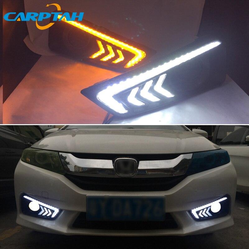 LED Daytime Running Light For Honda City Grace 2015 2016 Waterproof 12V Yellow Turn Signal Indicator Light Bumper Lamp LED DRL