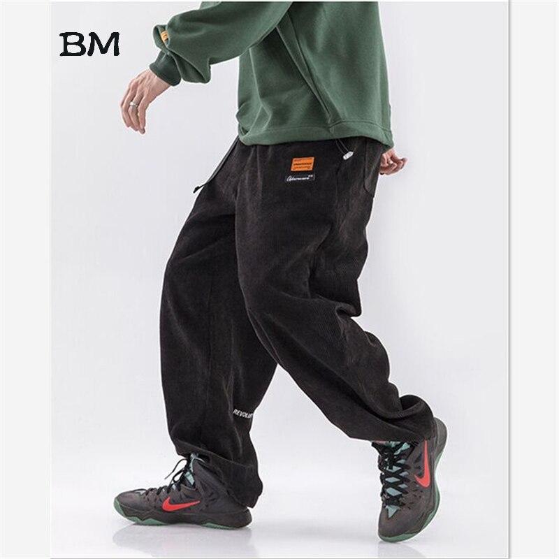 Streetwear Loose Fashion Kpop Corduroy Pants Hip Hop Black Joggers Men Modis Straight Cargo Pants Casual Korean Khaki Trousers