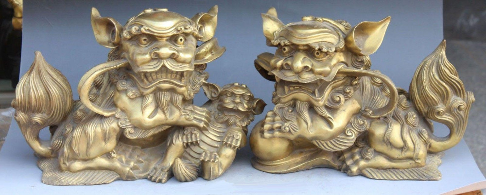 14 Chinese Fengshui Bronze Guardian Foo Fu Dog Door Lion Ball Kid Statue Pair