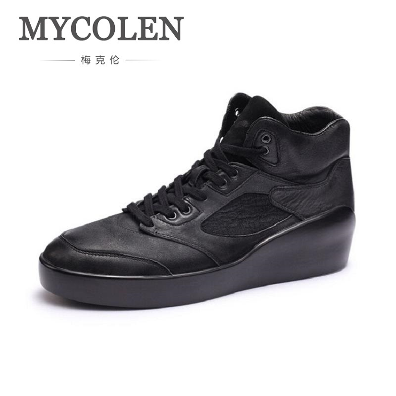 MYCOLEN New High Top Men Shoes Flats Lace Up Casual Shoes Fashion Height Increasing Male Shoes Man Trainers Zapatillas Hombre canvas shoes men breathable lace up flats high top men s casual shoes high quality male canvas shoes trainers zapatillas hombre