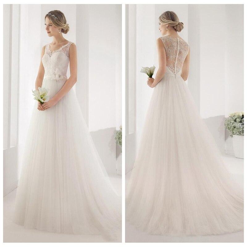 V Neck Lace Wedding Dresses: V Neck Lace A Line Wedding Dress 2017 Tulle Skirt Flowers