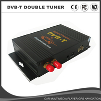 External Mobile DVB T MPEG4 double tuner Digital TV Receiver Box with remote control for android dvd Fit for Europe DVB T