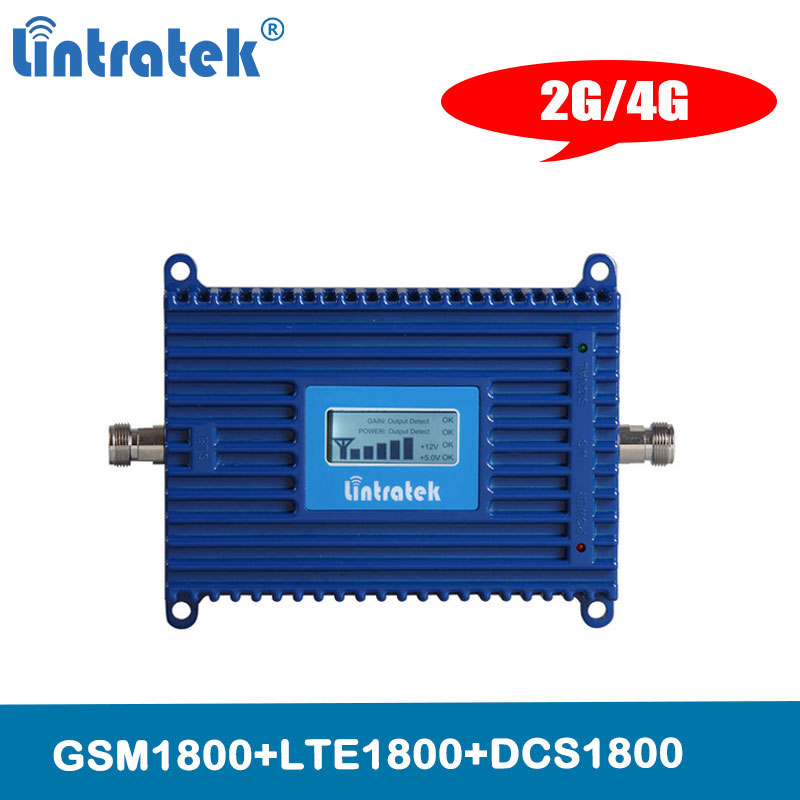 Lintratek LCD Display 4G LTE 1800 Mhz Band3 Cell Phone Signal Repeater 2G GSM Booster 1800 Mobile Phone Cellular Amplifier @8.1