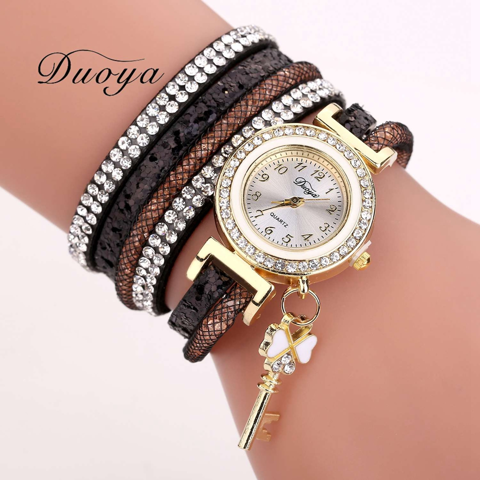 Duoya Brand Women Bracelet Watch Fashion Luxury Gold Key Pendant Crystal Dress Quartz Watch Casual Watches For Woman Gift
